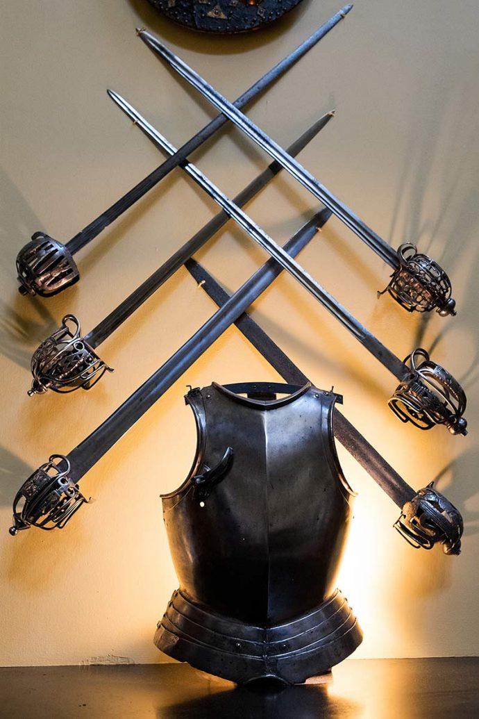 Close up of armour inside Inveraray Castle