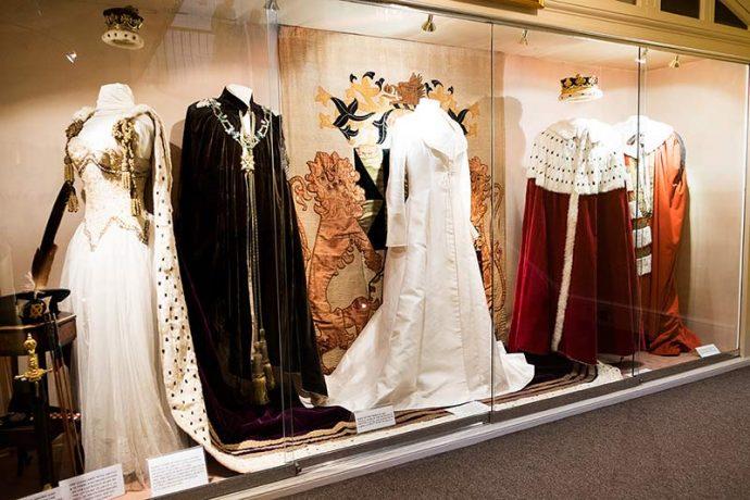 Royal clothing on display at Inveraray Castle