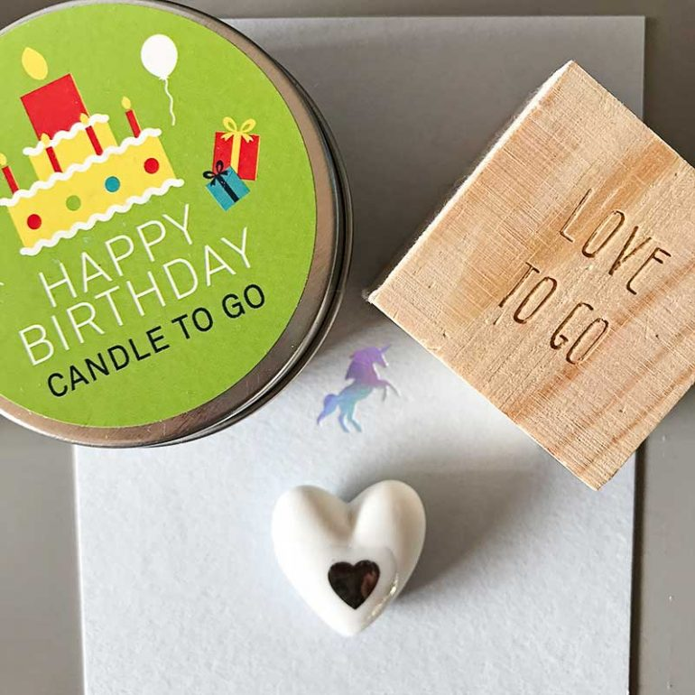 My birthday gifts-- birthday candles to go in a tin and love to go (a little heart in a wooden box)