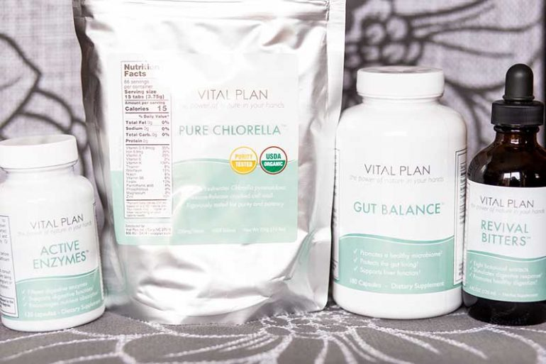 Photo of the Gut Revival Kit supplements: Active Enzymes, Pure Chlorella, Gut Balance and Revival Bitters.