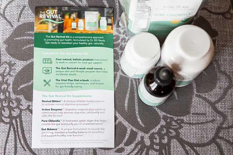 Leaflet from the Gut Revival Kit explaining how it works, taken alongside the Gut Revival Kit supplements.