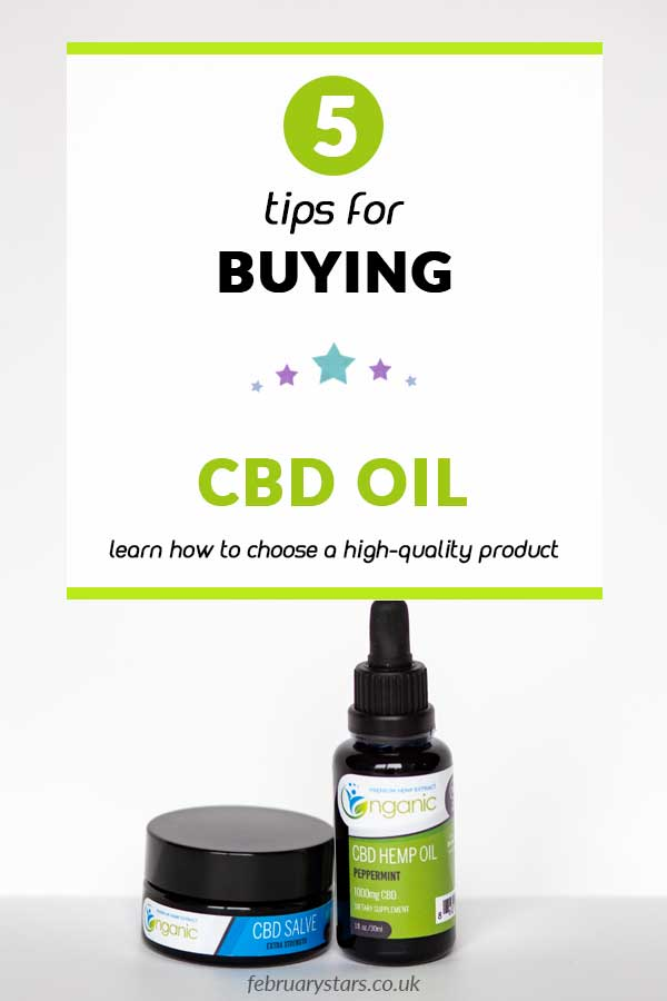 "Pinterest pin reads ""5 tips for buying CBD oil. Learn how to choose a high-quality product."""