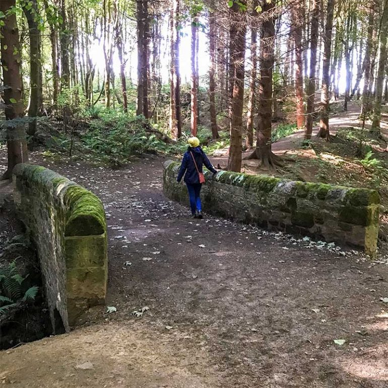 Photo taken in woodland shows Donna stood on a bridge facing away from the camera. She is leaning against the stone wall on the right-hand side of the bridge and is wearing a bright yellow beanie hat, navy blue jacket, light denim jeggings and has a small tan cross-body handbag.