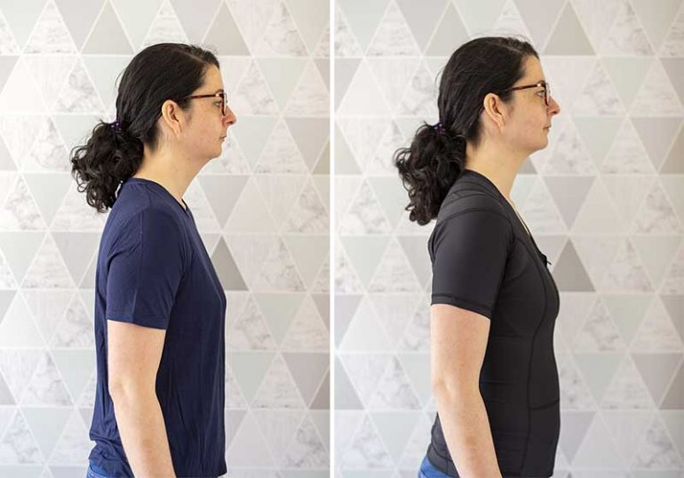 Two images showing a before and after. Left shows Donna standing wearing a regular t-shirt. Her shoulders and neck are slumped forward. The right image shows Donna wearing the Active Posture 2.0 shirt. Her shoulders are noticeably pulled back and her spine is more upright.